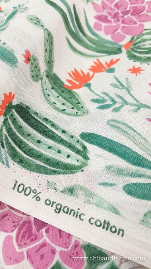 Tela estampada de cactus en algodón orgánico tipo de seda diseño de Monaluna