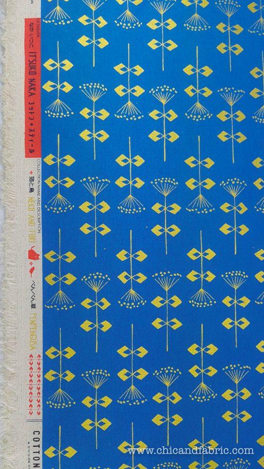 Loneta estampada azul con flores geométricas doradas en algodón y lino