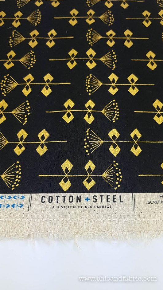 Loneta negra estampada de flores geométricas doradas en algodón y linon y lino