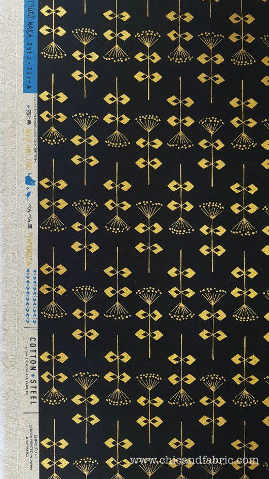 Loneta negra estampada de flores geométricas doradas en algodón y lino