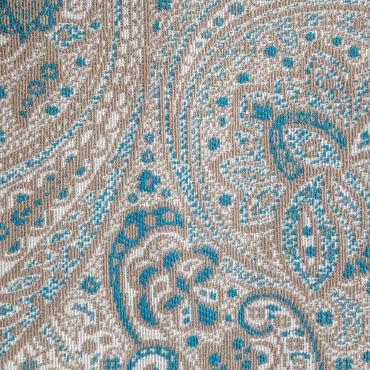 Jacquard para tapizar extra grueso estampado de cachemira en verde esmeralda y gris