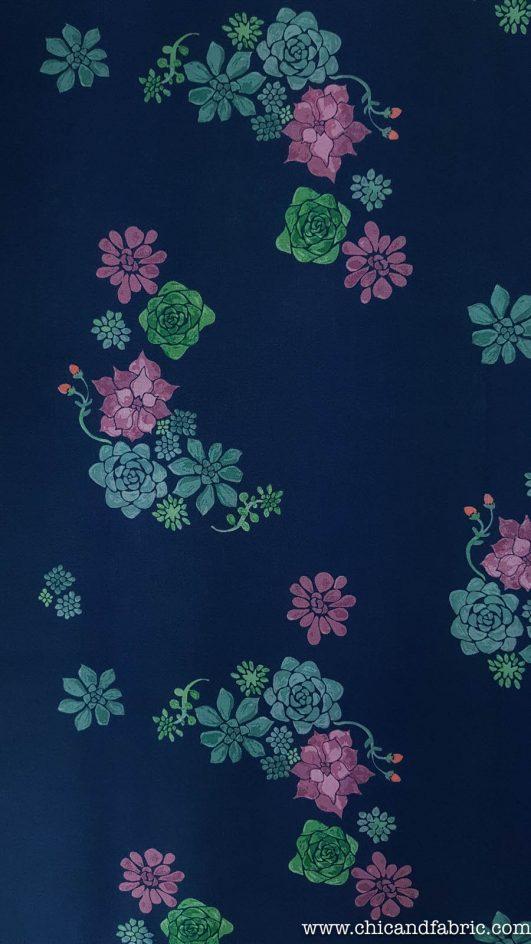 Motif de fleurs du désert en coton bio type soie Monaluna