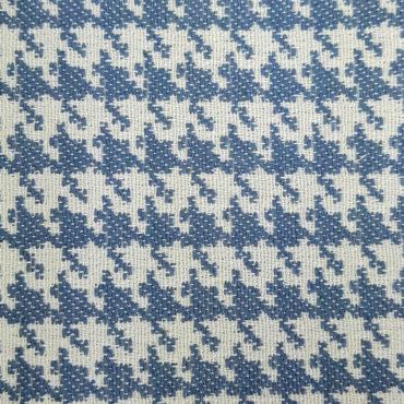 jacquard estampado de pata de gallo para tapicería. Color azul. Tejido resistente y antimanchas