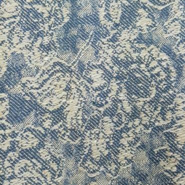 Jacquard tinta unita con stampa floreale vintage azul