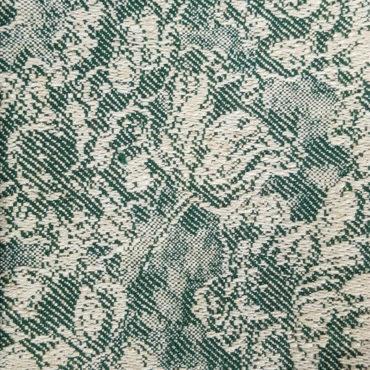 Jacquard tinta unita con stampa floreale vintage verde