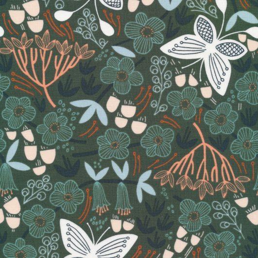 Popelín de algodó orgánico fino de flores y mariposas en verde
