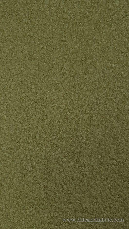 tissu bouclé en laine, vert militaire