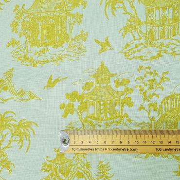Tissu imprimé japonais avec jardin japonais en vert et or