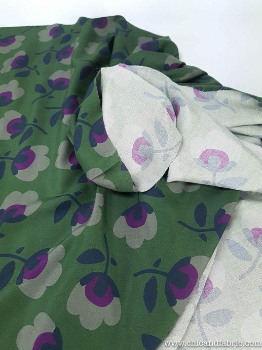 Tissu viscose vert militaire à motif floral
