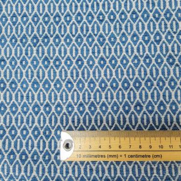 Jacquard extra grueso de estampado geométrico en azul para tapizar