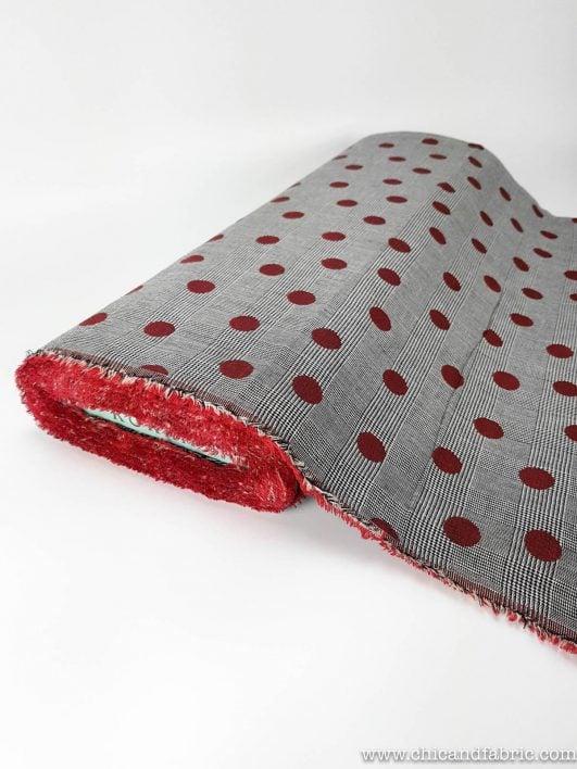 Jacquard 100% coton avec imprimé double pois réversible et prince de galles