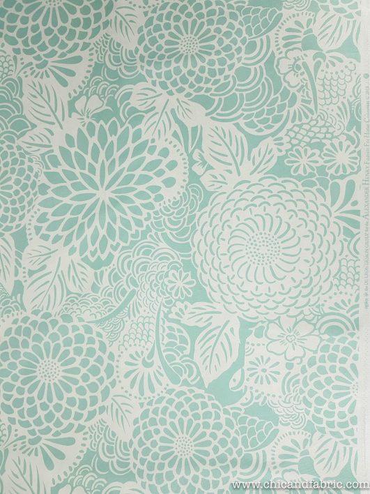 Loneta de estampado de flores en verde menta