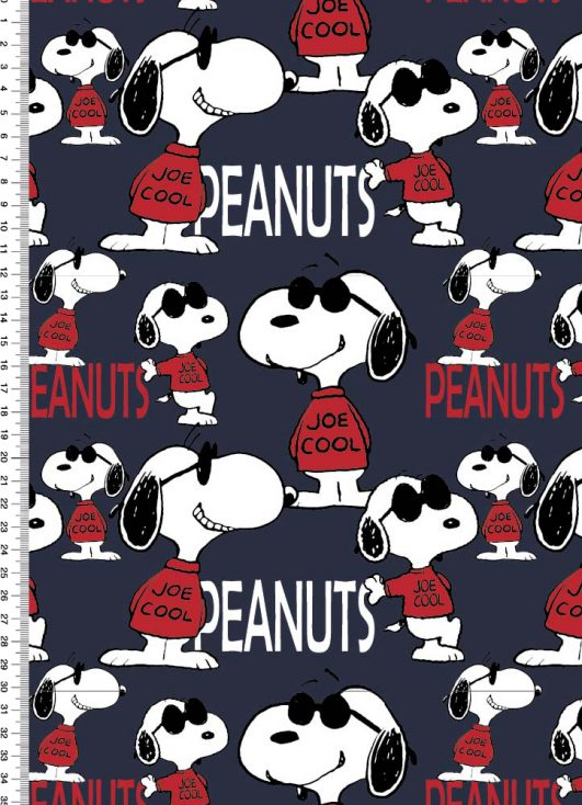 Imprimé Snoopy bleu marine (cacahuètes)