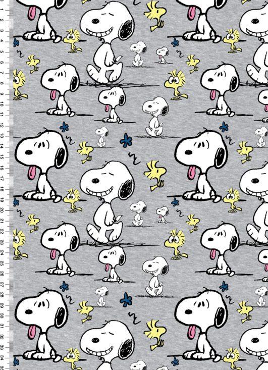 Tela de Snoopy y Woodstock en gris en punto jersey