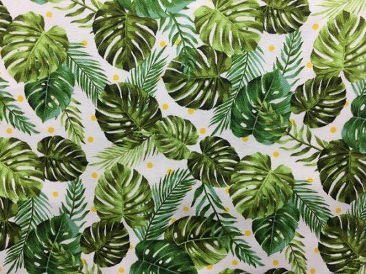 Algodón de grosor medio estampado de hojas tropicales