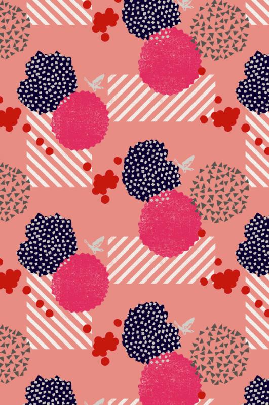Patchwork de coton à motifs en lin et coton à motifs roses, design by Echino